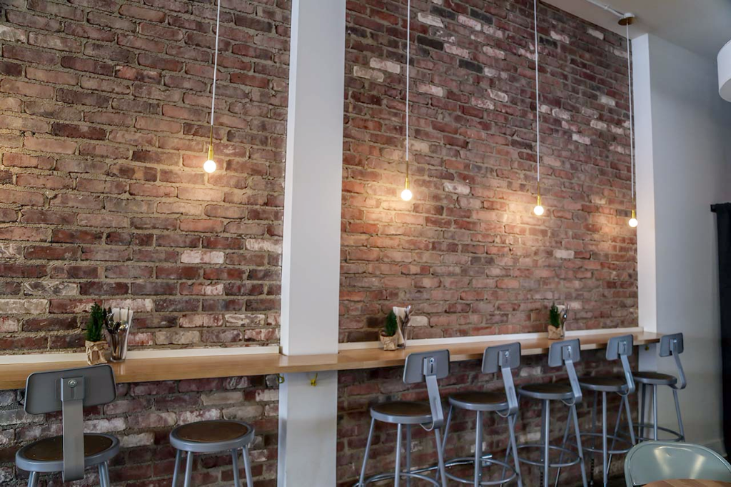 Exposed brick wall at Butterblume