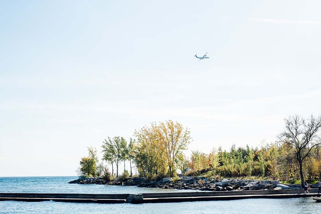 Watching a Porter plane take off at Trillium Park