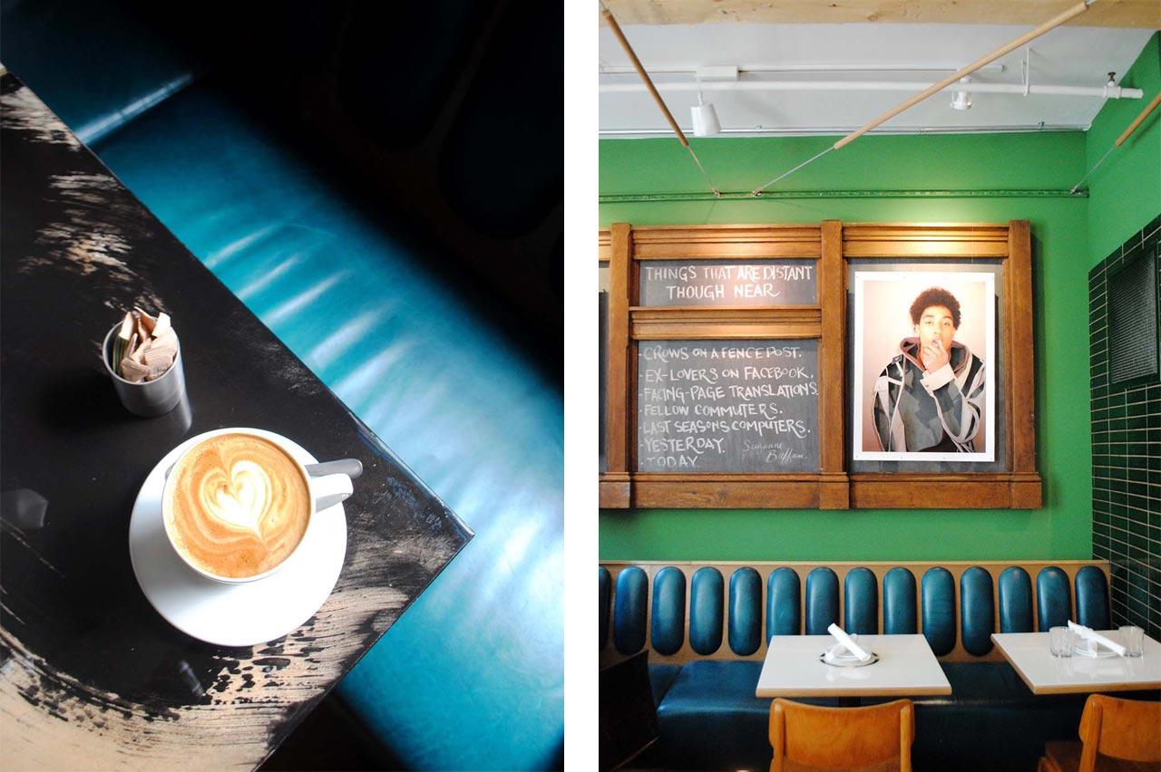 Latte and wall art inside Drake