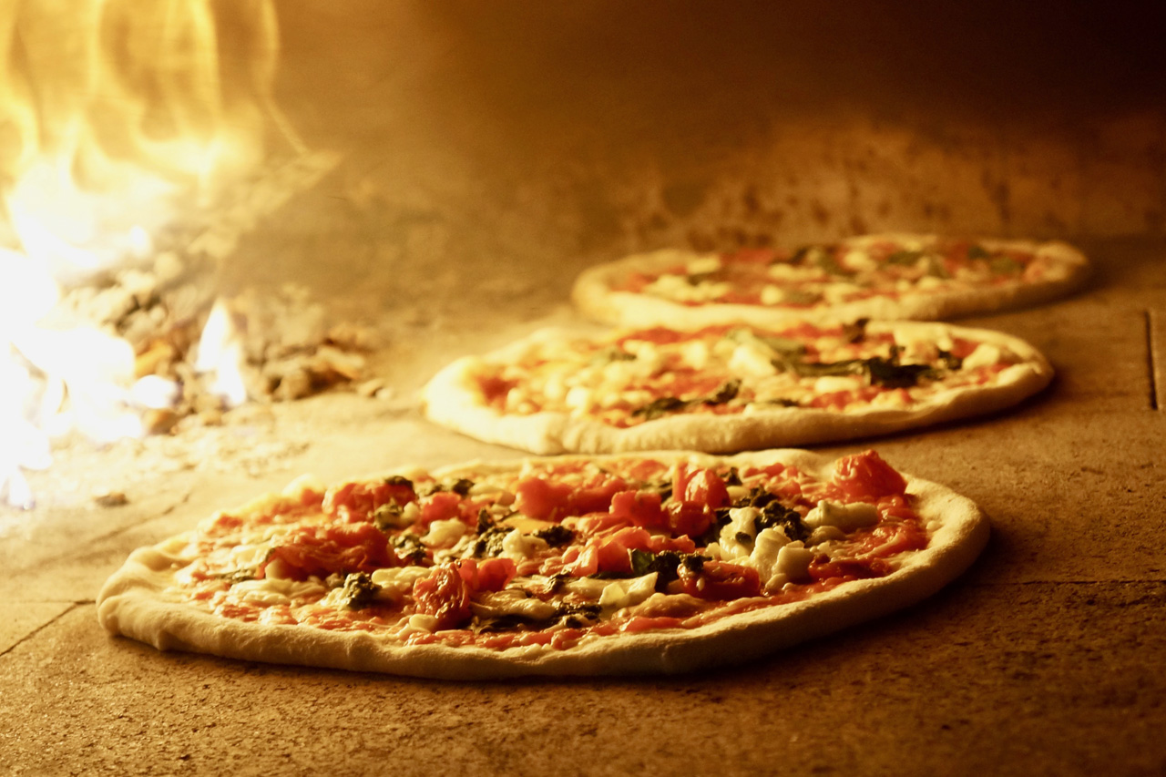 Pizza in the oven at Defina