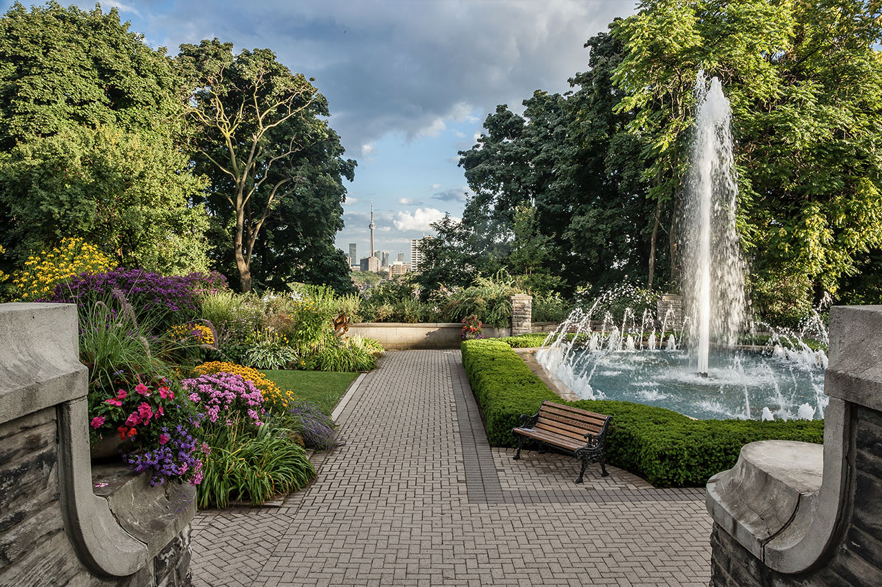 Garden and Fountain with views of CN Tower