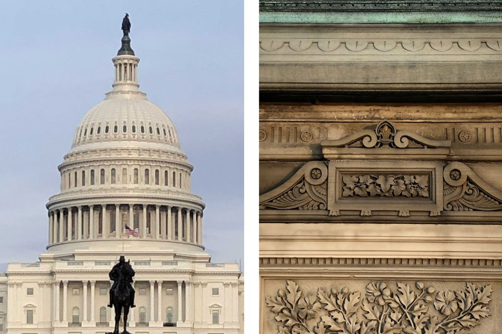 Front shot of the Capitol Building and a close-up of intricate marble carvings
