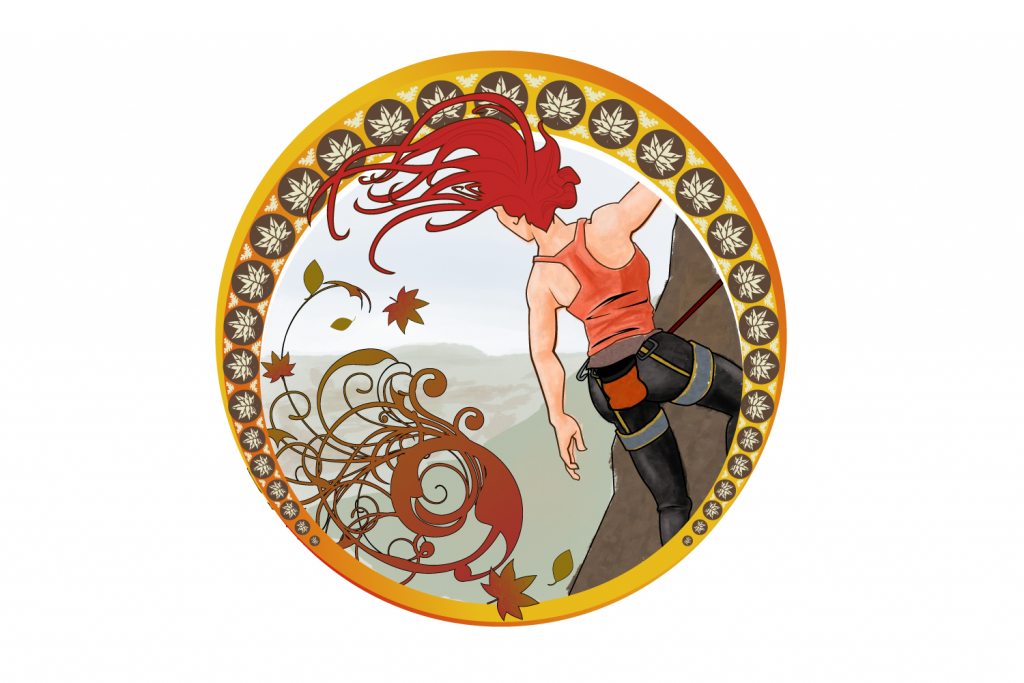 Women cartoon hiking a mountain with blazing red hair