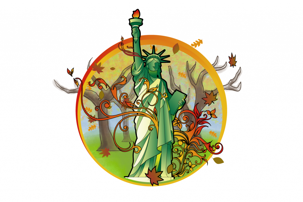 The Statue of Liberty with fall colours behind