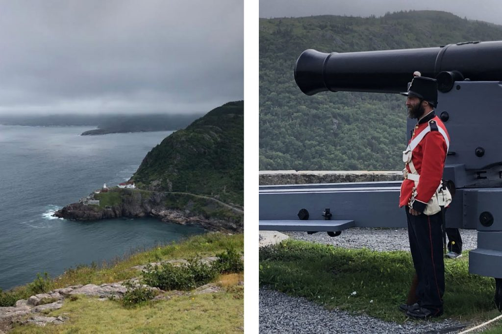 Scenic lookout spot overlooking the ocean. A red uniformed soldier standing beside a cannon.