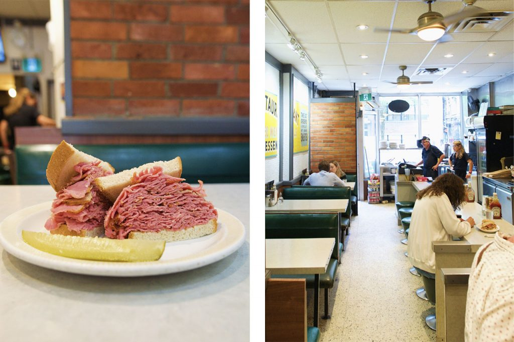 Photo of a smoked meat sandwich paired with a photo of tables and customers sitting
