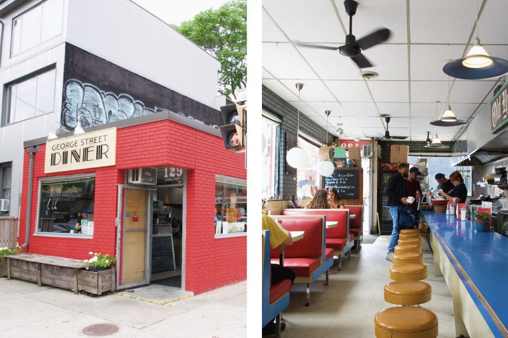 Photo of diner front exterior paired with a photo of countertop and stools
