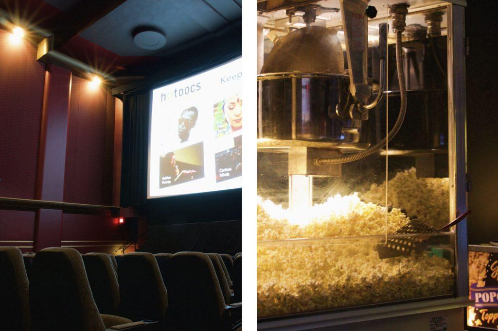Intimate movie theatre room and popcorn machine