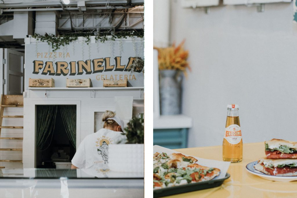 Interior photo of Farinella sign paired with a photo of pizzas and a drink in the middle.