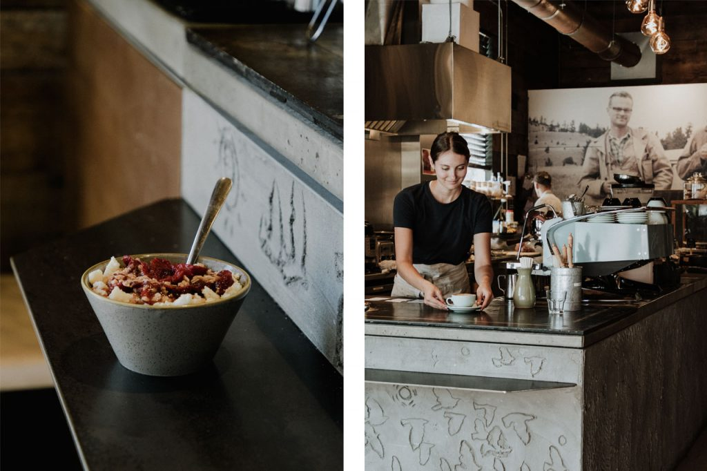 Photo of a bowl of oatmeal and berries paired with a photo of the cafe counter and server.