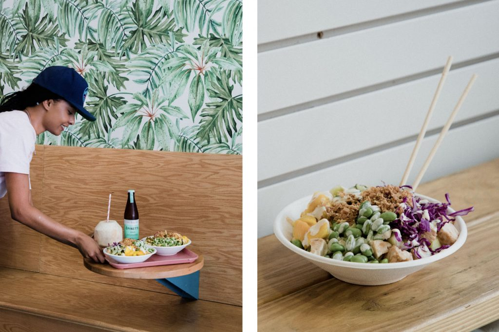 Photo of a girl serving the Poke bowls paired with a photo closeup of a poke bowl.