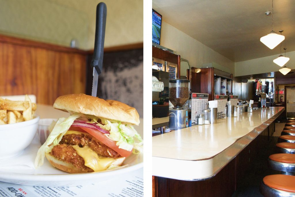 Photo of burger and fries paired with a photo of diner countertop and stools