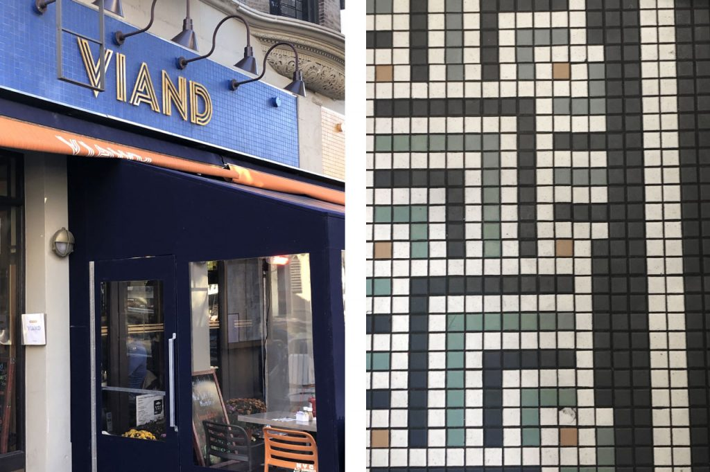 Viand store front entrance and tile pattern