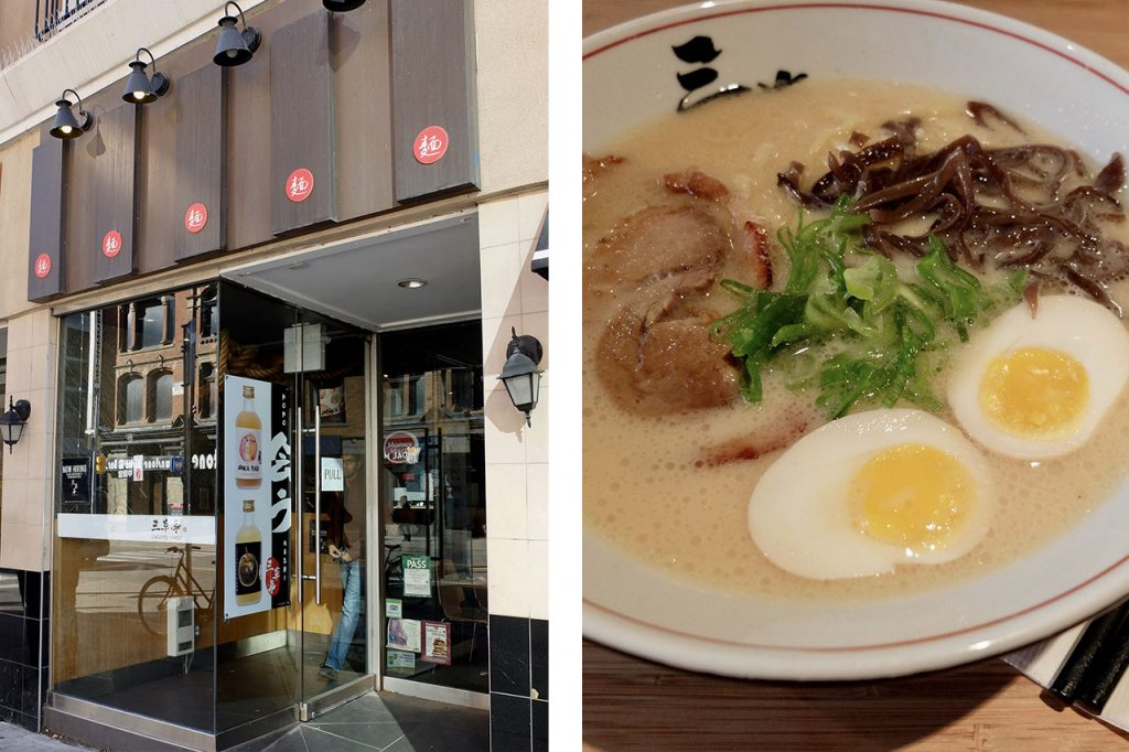 Sansotei restaurant glass door entrance and a creamy bowl of ramen with 2 boiled eggs.
