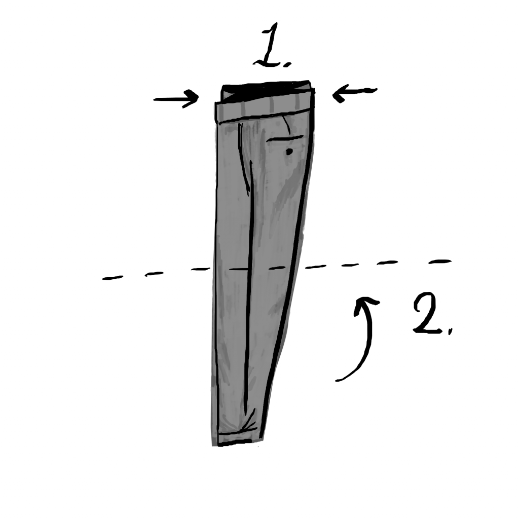 Trouser pants with arrows showing how to fold.