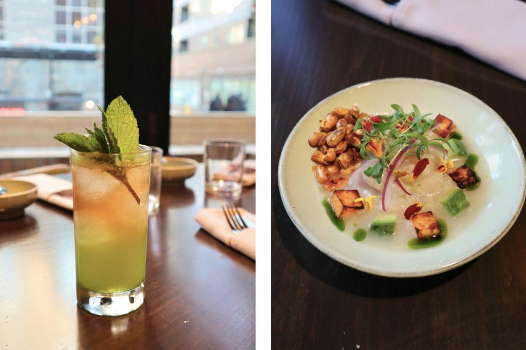 A light green cocktail with mint and a plate of fresh colourful ceviche.