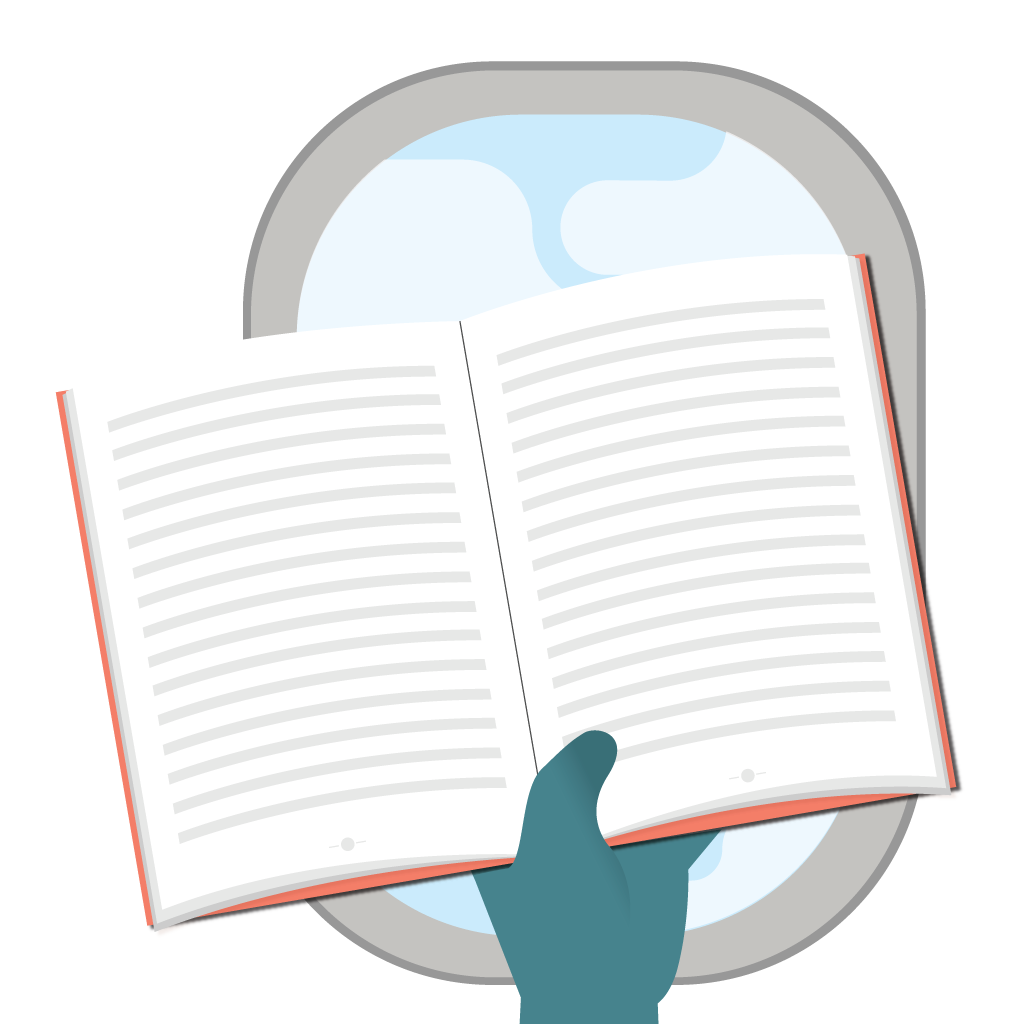 Illustration of person's hand holding a book in front of plane window