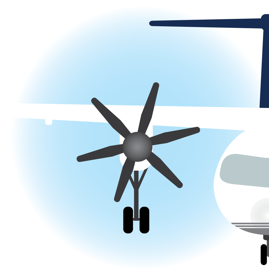Illustration of front view of a plane, with its landing wheels down