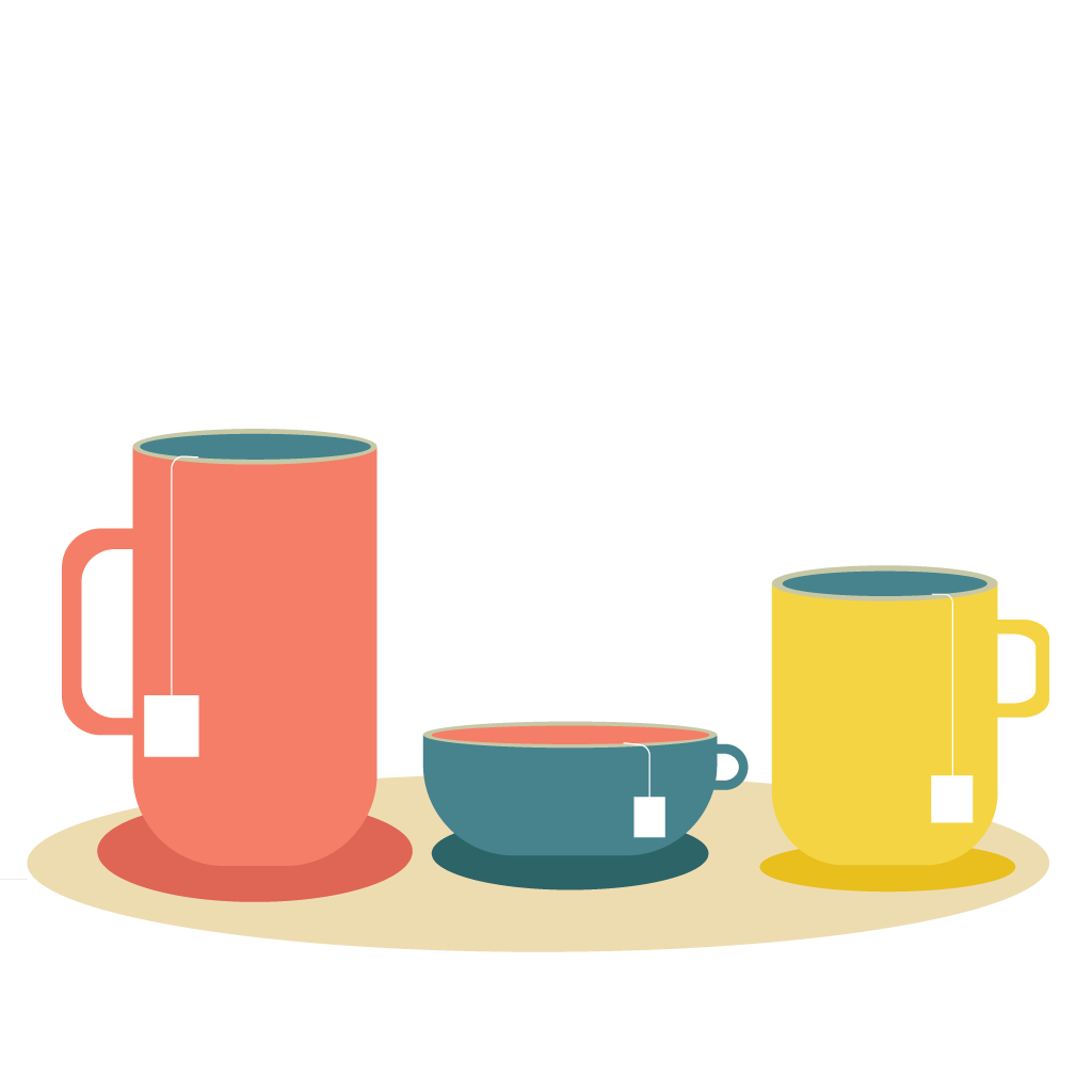 Illustration of a cup and mugs of tea