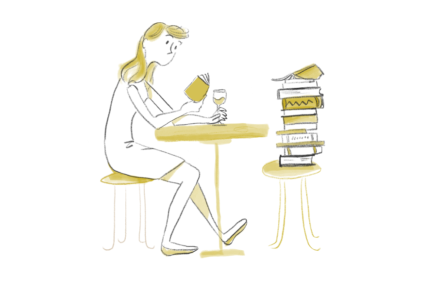 Illustration of a seated woman reading a book and holding a glass of wine on her restaurant table, a pile of books is stacked on the chair opposite her
