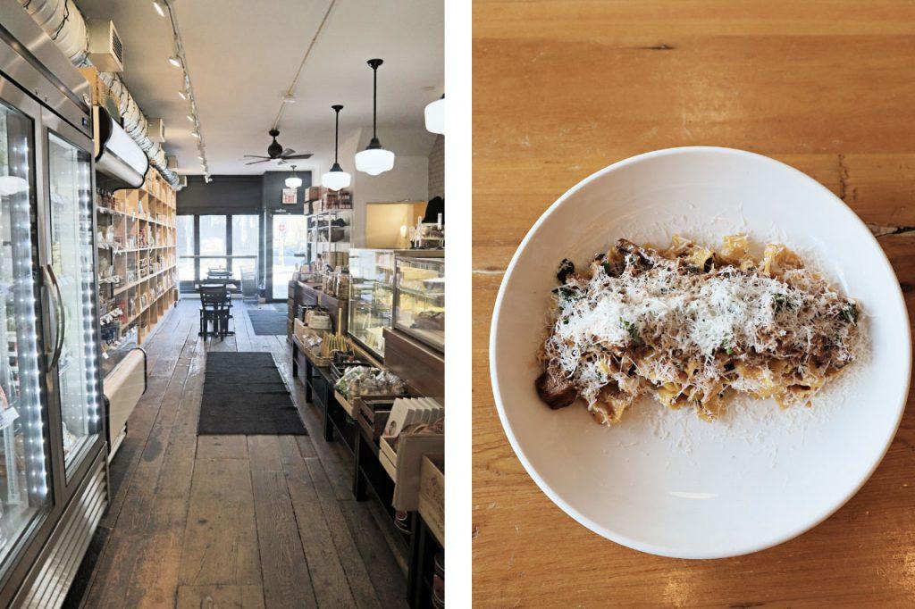 Images showcasing interiors and food of Alimentari