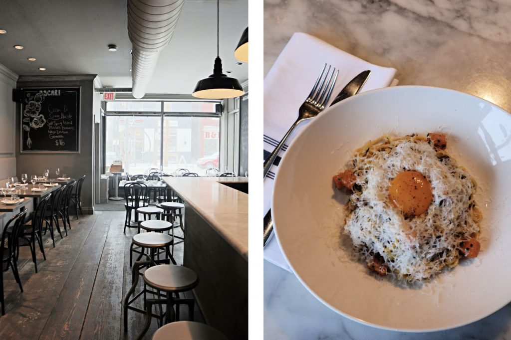 Images showcasing ambience and food of Ascari, Toronto's lesser known pasta restaurant